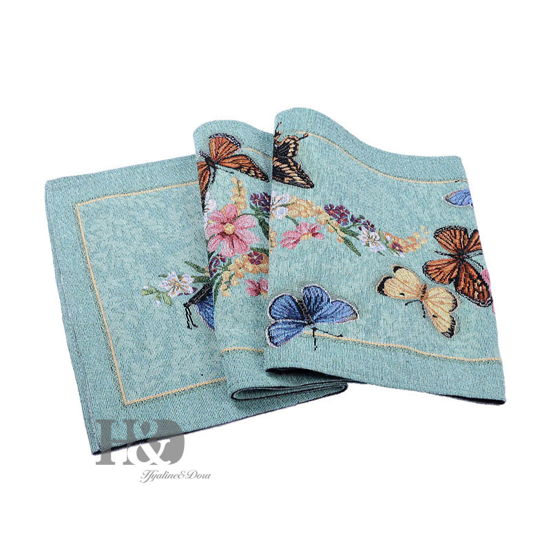 Vine Butterfly Country Style Tapestry Wedding Bed Table Runner Table Cloth Dining Mat Slip-resistant Placemat Table Flag Decor
