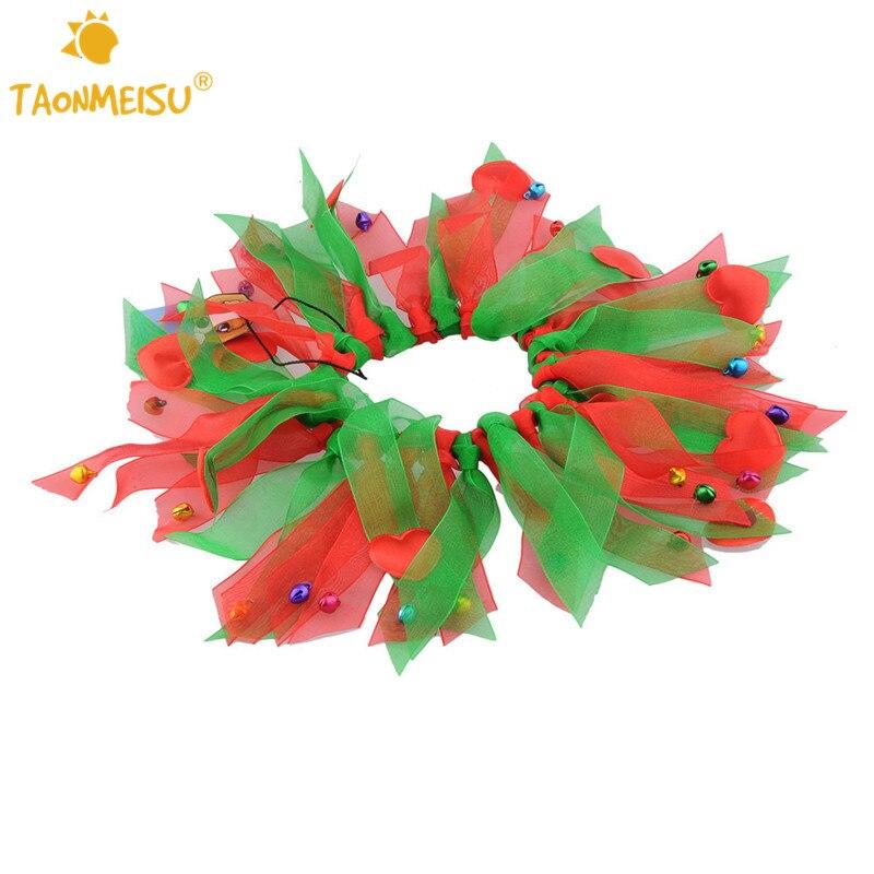 Kleurrijke Honden Halsband met Bell Kerst Zijden Lint Halsbanden - Producten voor huisdieren - Foto 2