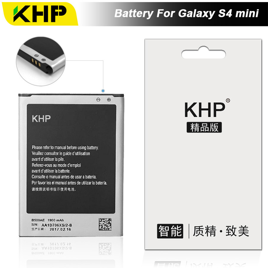 KHP 2017 Original KHP 3 Pin Phone Battery For Samsung Galaxy S4 Mini i9190 I9192 Battery B500AE B500BE Replacement Battery