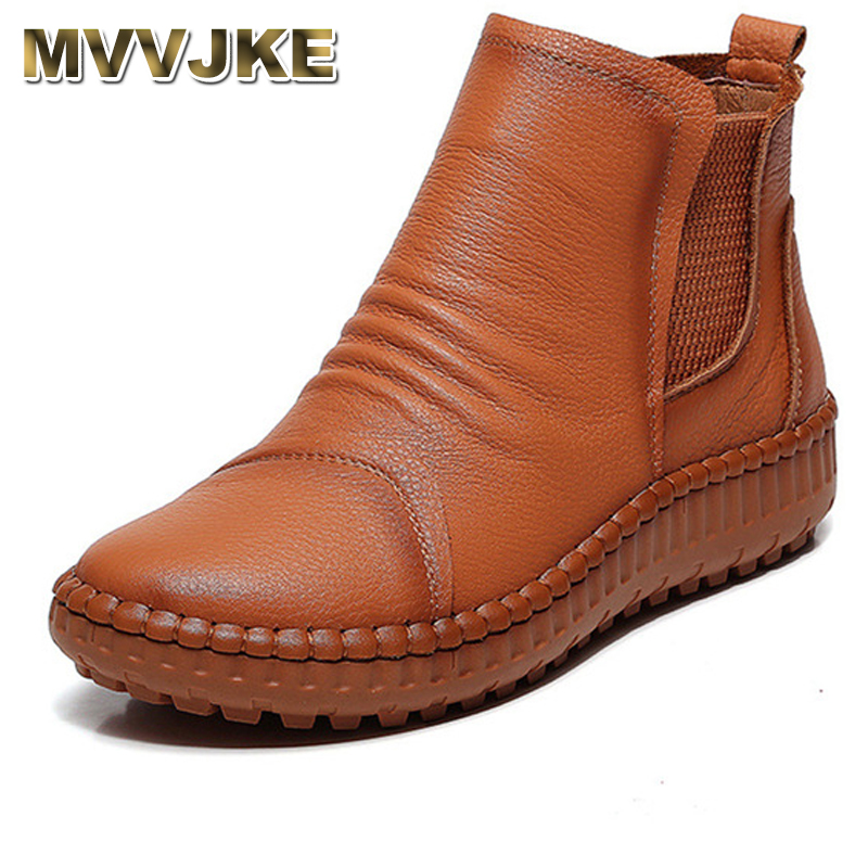 MVVJKE New Women Old Mother Female Ladies Shoes Boots Cow Genuine Leather Casual Slip On Pigskin