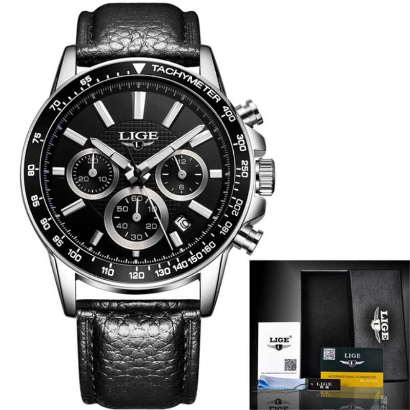 LIGE Top Brand Luxury Waterproof Sport Clock Mens Watches Casual Quartz Watch Men Chronograph Leather Watches Relogio Masculino