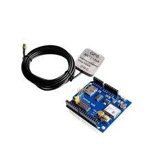 ¡! 5 unids/lote GPS escudo GPS placa de expansión módulo GPS con ranura SD tarjeta con antena para UNO R3