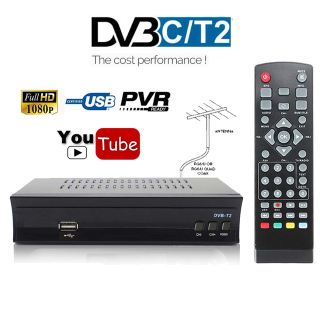 Dvb-t2 DVB C Set-top Box Digital Tv Box DVB T2 Tuner DVB-C For VGA Monitor Wifi USB IPTV M3u TV Tuner DVBT2 Receiver AC3 Youtube