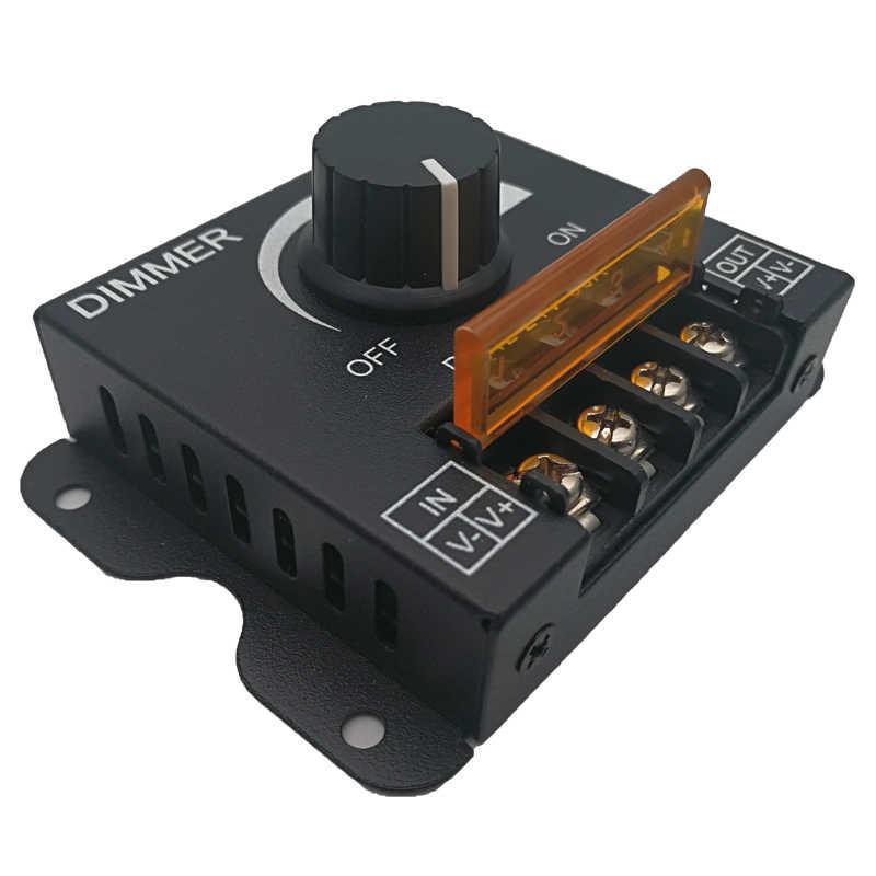 Nowy ściemniacz LED 12 V-24 V 30A MAX metalowa powłoki duże ściemniacz mocy gałka obrotowa sterowania diodami Led ściemniacz porażenia prądem elektrycznym pokrywa