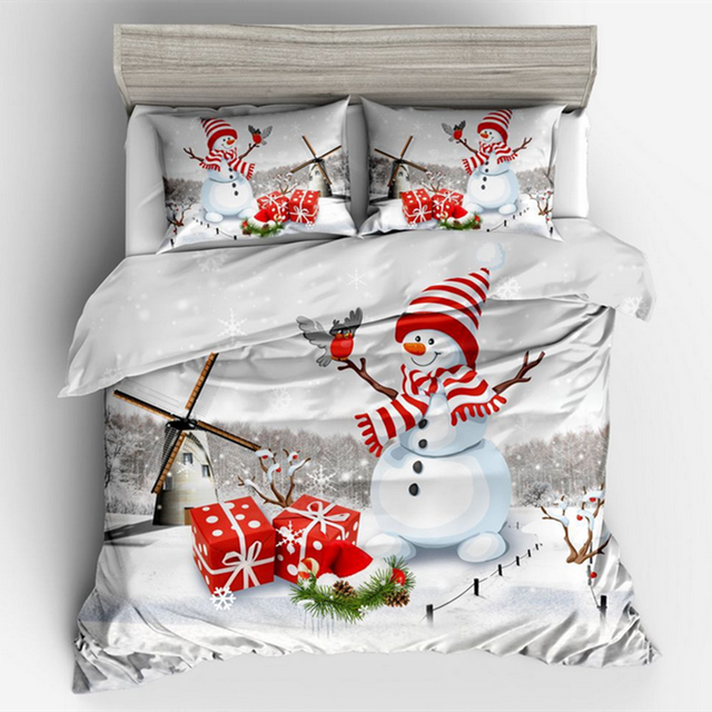 Christmas Bedding Sets Queen.Us 29 4 40 Off Fanaijia 3d Christmas Bedding Set Queen Size Kids Christmas Snowman Duvet Cover With Pillowcases Bedclothes Comforter Set In Bedding