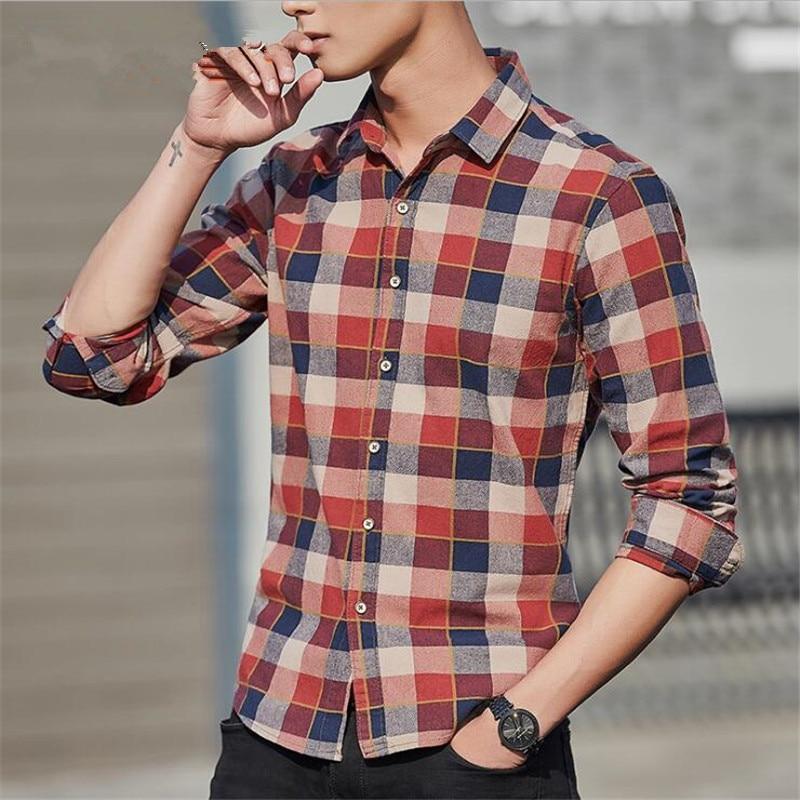 2018 Hot Selling Camisa Masculina Casual Plaid Shirt Men Spring Summer Cotton Slim Long Sleeve Men Shirts Loose Big Size Camisa
