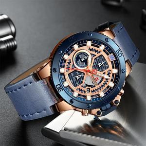 Image 4 - NAVIFORCE Uhren Neue Top Marke Luxus Military Quarzuhr Für Männer Chronograph Leder Wasserdichte Uhr Männlich relogio masculino