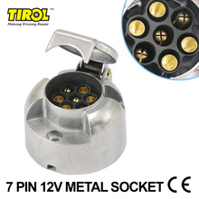 Tirol 7-Pin Trailer Socket  Heavy-Duty 7-Pole Round Pin Socket 12V Towbar Towing Socket N Type -Vehicle End T10159c FreeShipping