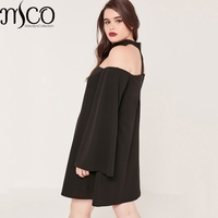 2017 Spring Plus Size Black Bardot Swing Dress Sexy Off Shoulder Chocker Long Bell Sleeves Party