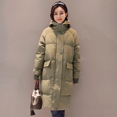 Женское зимнее пальто средней длины, однотонная свободная Толстая теплая куртка с капюшоном, пуховик с хлопковой подкладкой, верхняя одежда, парки H448 - Цвет: 4
