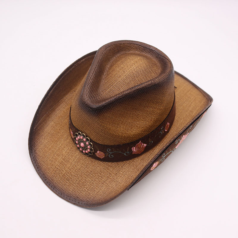 QPALCR 2018 New Brand Women Western Cowboy Hats Vintage Embroidery Visor Straw  Hat Travel Performance Punk Cowgirl Jazz Cap-in Cowboy Hats from Apparel ... 05eee40ab4f