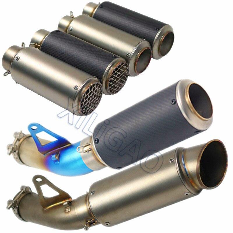 51 MM 60 MM pour BMW S1000R moto lien d'échappement tuyau silencieux en Fiber de carbone en acier inoxydable Style Tube de sans lacet d'échappement SC022
