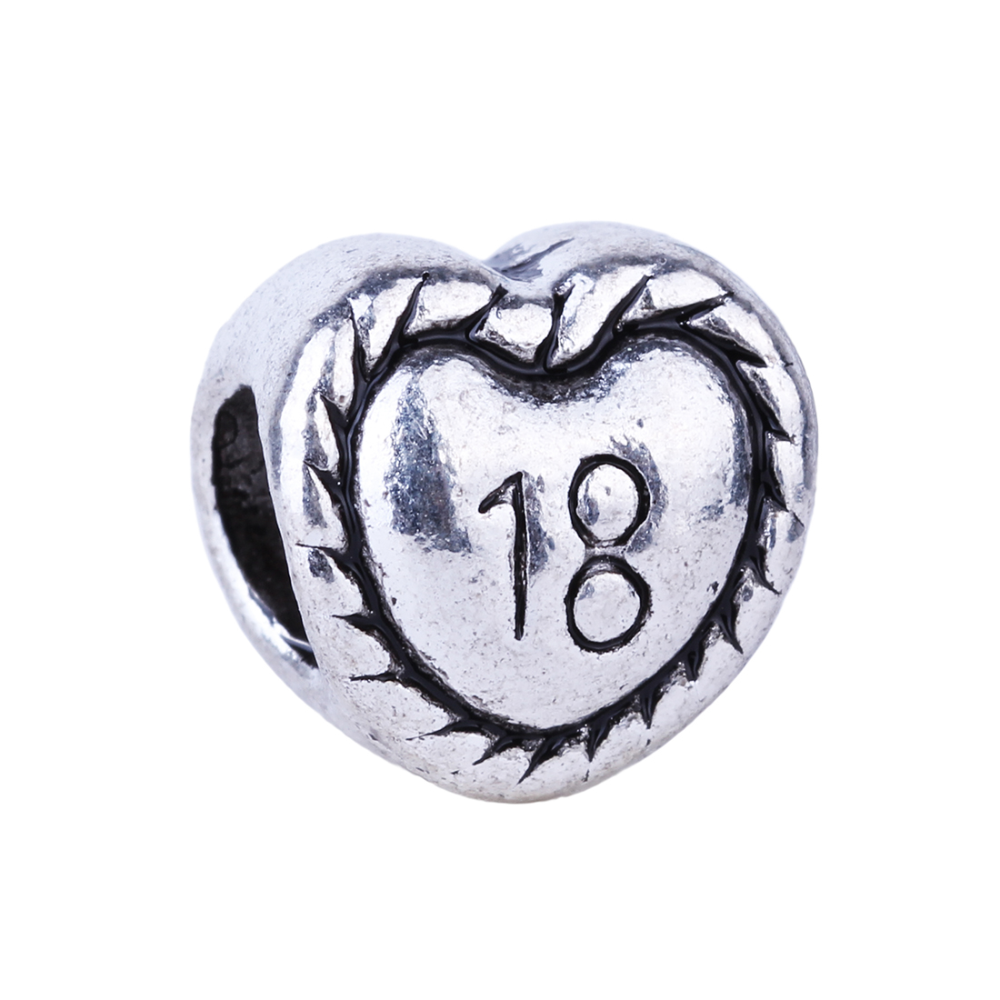 1Piece Number 18 Love Heart Eighteen Years Old Beads ...