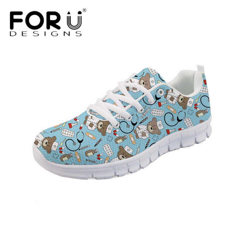 FORUDESIGNS Cute Cartoon Nurse Bear Print Casual Flats Women's Comfortable Mesh Spring Sneakers High Quality Light Weight Shoes instantarts cute glasses cat kitty print women flats shoes fashion comfortable mesh shoes casual spring sneakers for teens girls