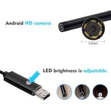 Hd-эндоскоп инспекционный Водонепроницаемый Android PC змеиная Инспекционная камера 5,5 мм светодиодный