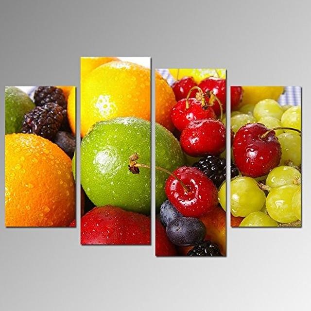 4 Panneau Fruits Frais Toile Peinture Mur Art Modulaire Photos