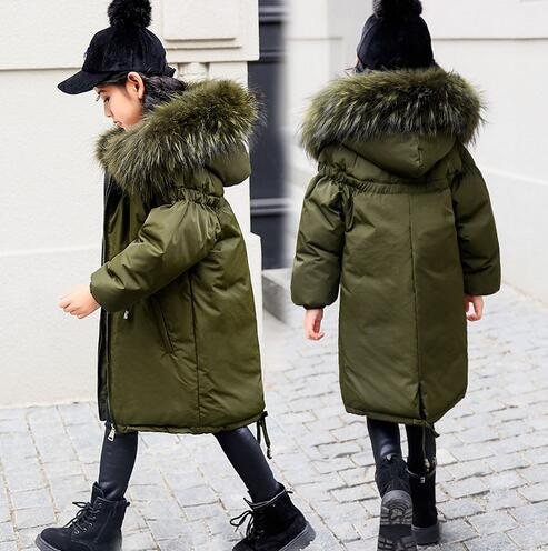 New 2018 Children Winter Jacket Girl Winter Coat Kids Warm Thick Fur Collar Hooded Long Down Coats For Teenage 6 8 10 12 Years teen girl winter coat parka long down puffer hooded fur collar children winter jacket kids thick clothes for 6 8 10 12 14 years