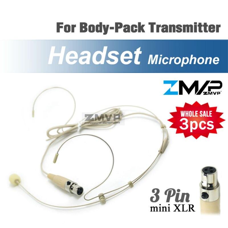 ¡Envío libre! 3 piezas condensador Headworn auriculares micrófono con Mini 3 Pin XLR TA3F enchufe para Shure Body-Pack transmisor inalámbrico