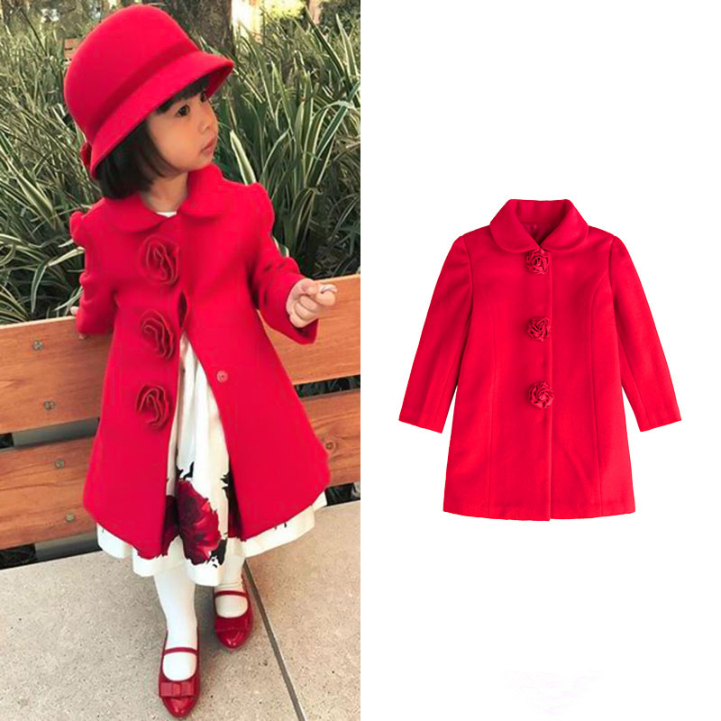 Girls Wear Annual Heavy Industry Handmade Rose Princess Sewing Elegant New Year Red Coat Girls Wear Annual Heavy Industry Handmade Rose Princess Sewing Elegant New Year Red Coat