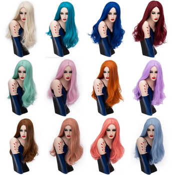 Yiyaobess 24inch Golden Orange Blue Pink Purple Green Natural Long Wavy Wig Cosplay Wigs For Women Synthetic Hair 19 Colors - DISCOUNT ITEM  30% OFF All Category