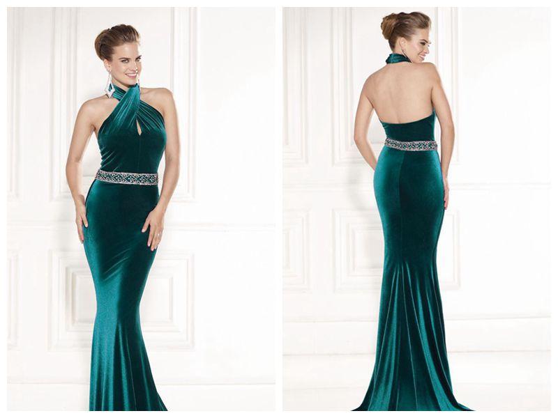 Green Evening Dresses Halter Off The Shoulder Sleeveless