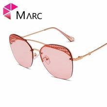 MARC Fashion Sunglasses ins woman ocean Metal Yellow Gradient Trendy UV400 gafas sol de Green female New Eyewear Brown