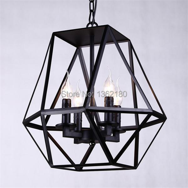 Retro Style Black Iron Art Diamond Birdcage Pendant Light Hanging Lamp  Dining Room Living Room Lighting Fixture Free Via DHL In Pendant Lights  From Lights ...