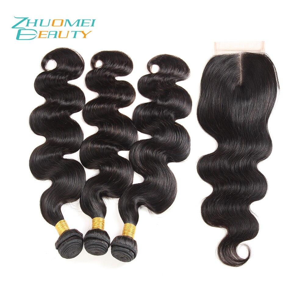 Zhuomei Красоты Реми волны волос на теле Связки 3 Связки с закрытием натуральный Цвет 100% человеческих волос Weave Связки 8 -28 дюймов