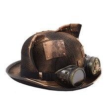 Chapéus de steampunk, óculos de orelha de gato gótico, tigela, fedora, acessórios para festas