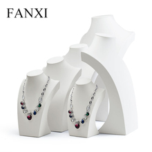 FANXI  Fashion White PU Leather Jewelry Display Stand Mannequin Model Necklace/Pendant Bust Display Holder Jewelry Organizer