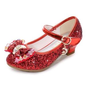 Image 3 - ילדי נסיכת נעלי בנות מפלגה עקב גבוהה סנדלי אופנה פרח ילדי גליטר עור נעלי פרפר קשר שמלת חתונה