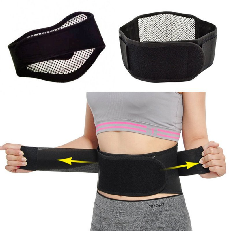 Adjustable Tourmaline Self heating Magnetic Therapy Waist Belt Lumbar Support Back Waist Support Brace Double Banded
