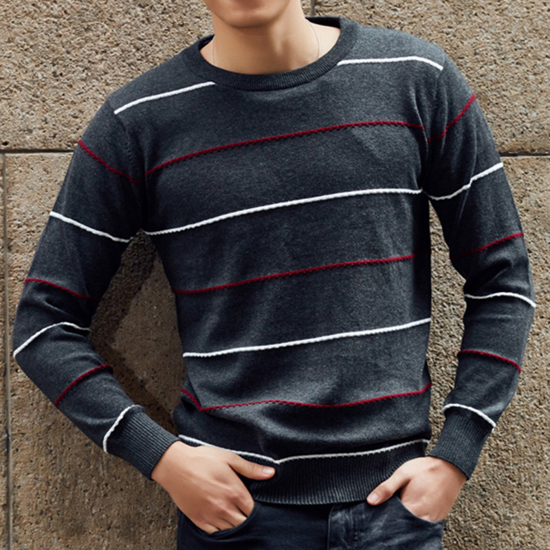 2017 New Fashion Autumn Winter Sweater Men Cashmere Pullover O Neck Christmas Sweater Mens Striped Knitted Sweaters for Men 3XL
