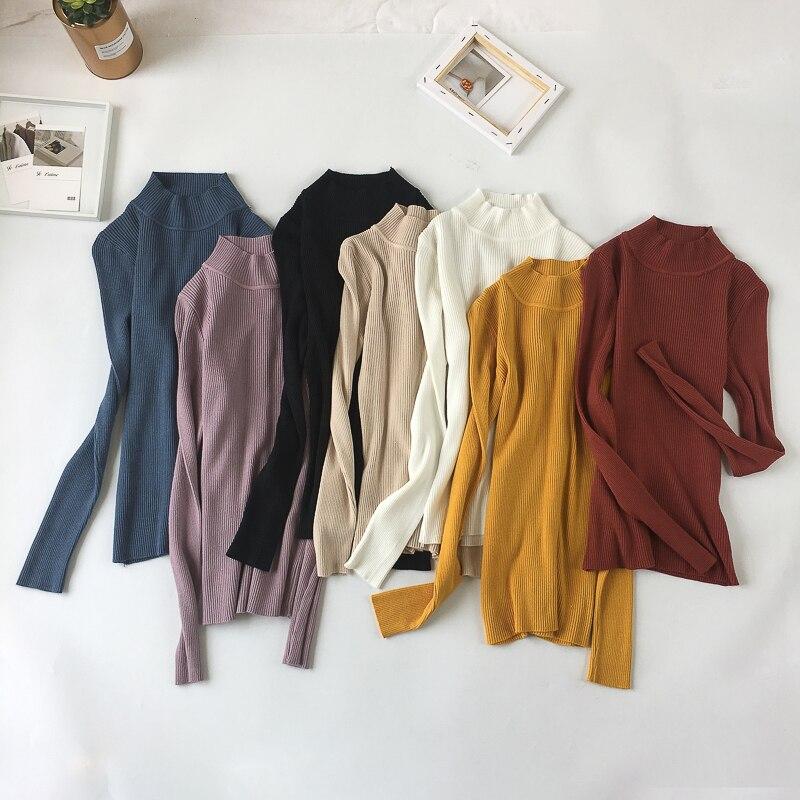 Suéter de Mujer de otoño 2018 de manga larga para Mujer suéter de invierno cálido jerseys mujeres cuello alto Tops jerseys Jaqueta femenina