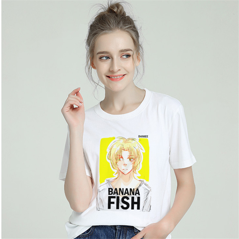 2019 T Shirt Women Cotton Banana Fish <font><b>Anime</b></font> Harajuku Aesthetics <font><b>Sexy</b></font> T-shirt Short Sleeve Plus Size <font><b>Tshirt</b></font> Female Tops Tees image