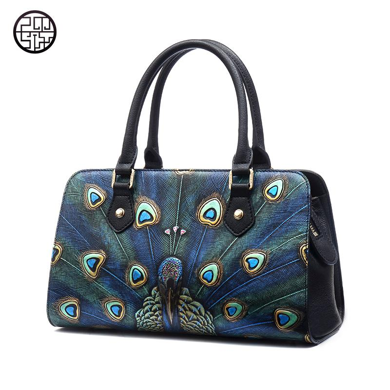 Pmsix Casual Tote Peacock Pattern Genuine Leather Bags Luxury Handbags Women Bags Designer Totes Luxury Evening Bags Designer