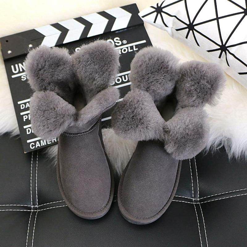 ФОТО The new winter 2016 clovers sheep fur one short  boots female cone dermal thickening joker antiskid short boots