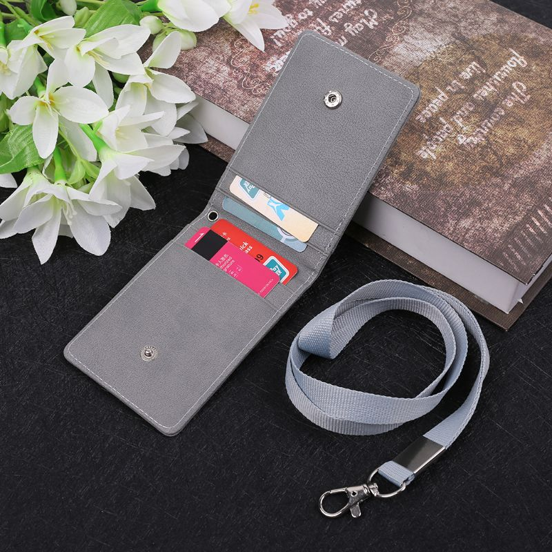 1Pc Fashion Leather Business ID Card Badge Holder Lanyard Cards Case Organizer Bag For Card