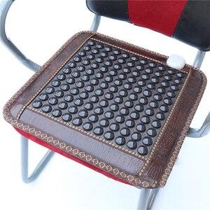 Image 5 - Yeni kızılötesi ısıtma Mat doğal yeşim turmalin masaj yastık ağrı kesici bel rahatlatmak kas sağlık koltuk minderi 220V