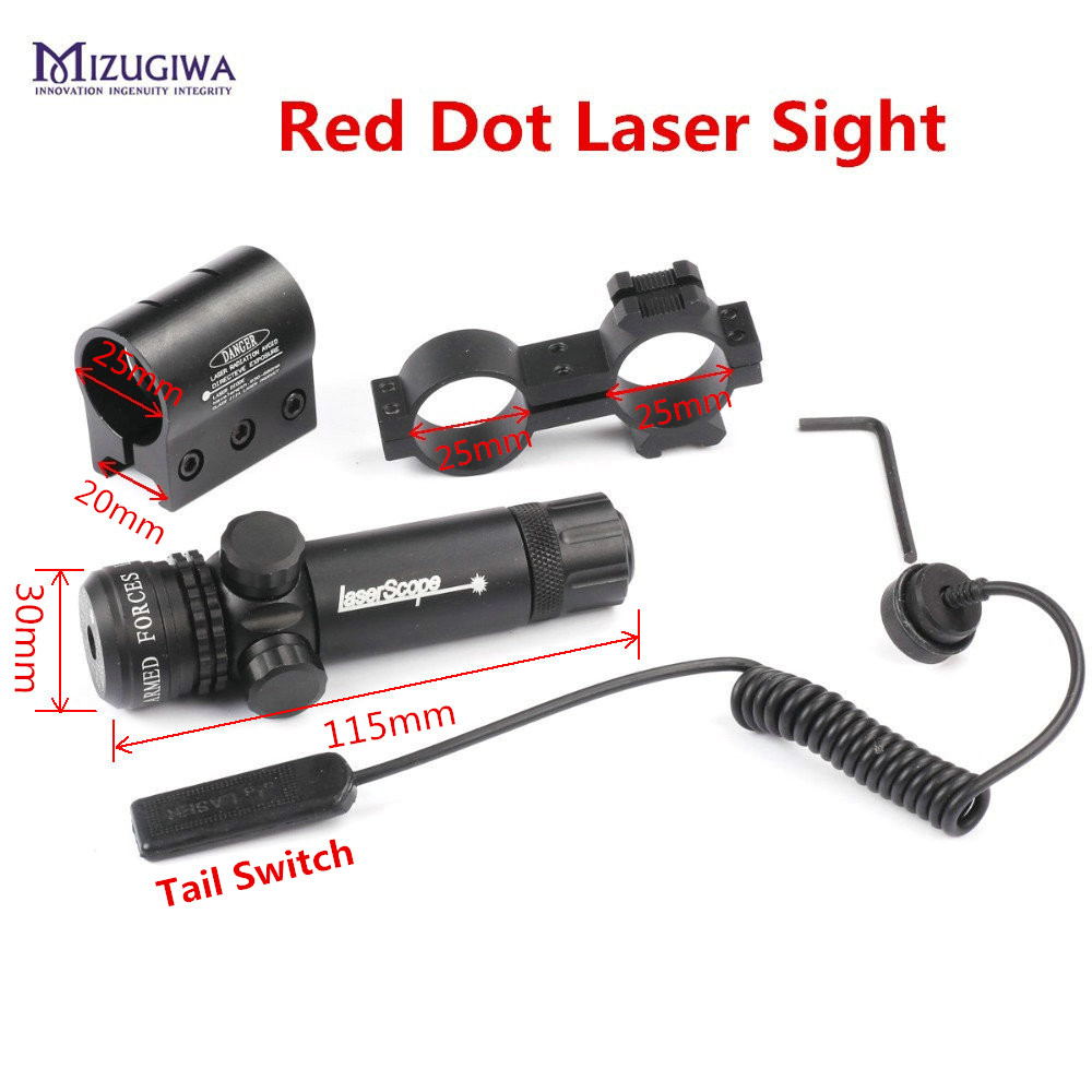 Red Laser Sight Scope Tactical with 20mm Picatinny Rail Mount Barrel Mount for Rifle Scope Para Airsoft Shotguns Hunting Caza