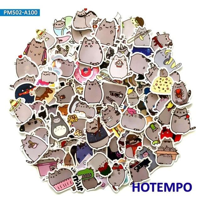 100 piezas de dibujos animados lindo gordo Emoji gatos pegatinas para niños DIY carta recortes de diario de teléfono móvil portátil etiqueta pegatinas