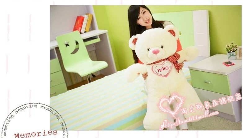 stuffed animal cute White  teddy bear plush toy 110cm  hellobear doll about 43 inch toy b7761