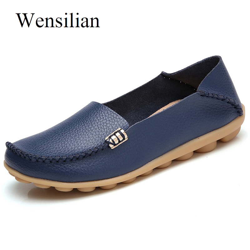 Women Casual Ballet Flats Genuine Leather For Women Summer Comfortable Loafers Slip On Moccasins Femme Shoes Zapatos Mujer summer women ballet flats genuine leather shoes ladies soft non slip casual shoes flower slip on loafers moccasins zapatos mujer