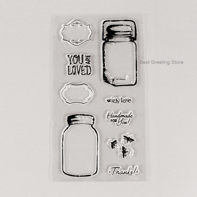 diy scrapbooking stamps clear glass jar stamps transparent label frame stamps cardmaking