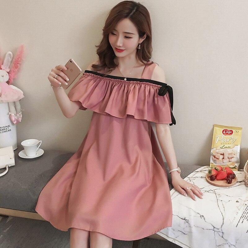 Korea's new maternity summer breastfeeding dress fashion strapless plus size Pregnant Woman nursing Dresses pregnancy clothes