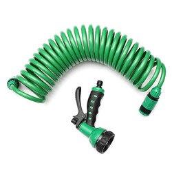 7.5 мм спиральный стирка Подпушка шланг с насадкой 25ft гибкие Портативный расширения Сад водяной шланг с сопла