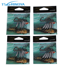 Trulinoya 20 Pieces Lure Fishing Hooks Black Nickle Bass Fishing Worm Hook BKK Fish Hook For Soft Lure Fishing Double Size 1#+2#