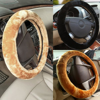 Winter Plush Car Steering Wheel Cover Delicate Beige Brown Black Cover Steering Wheel Accessories Auto Upholstery