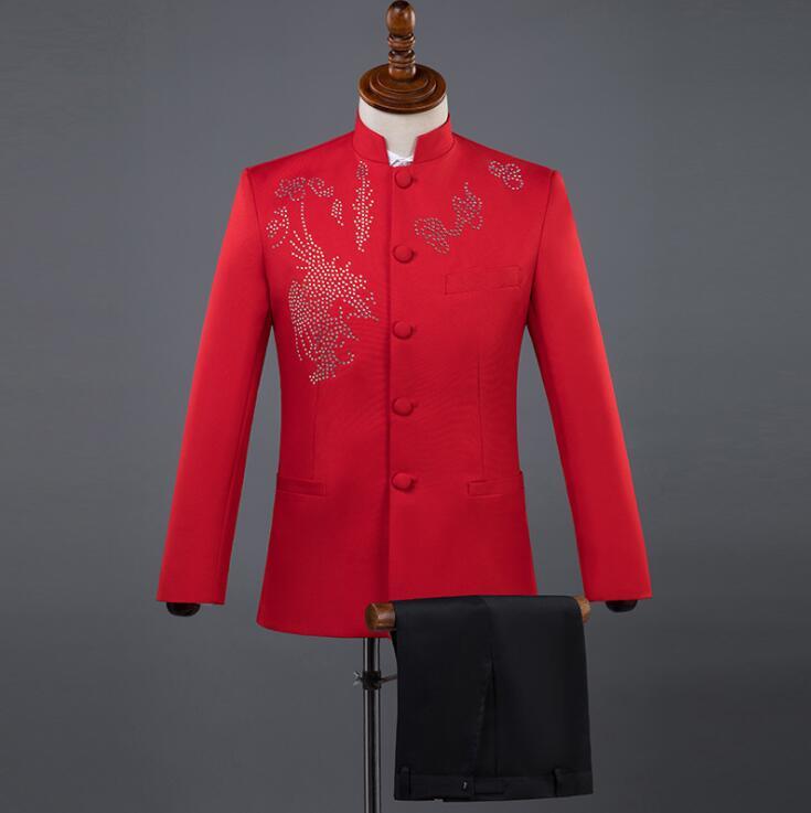 Blazer Chanteurs Veste Terno Robe rouge Vêtements bleu Hommes Paillettes Tunique Homme De Danse blanc Col Montant Noir Chinois Costume Scène Costumes Blanc PwZqn6