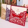 50 pcs Fontes Do Casamento China Elegante Luxuoso Do Vintage Wishmade Convites De Casamento de Corte A Laser Cartão de Convite de Casamento Vermelho